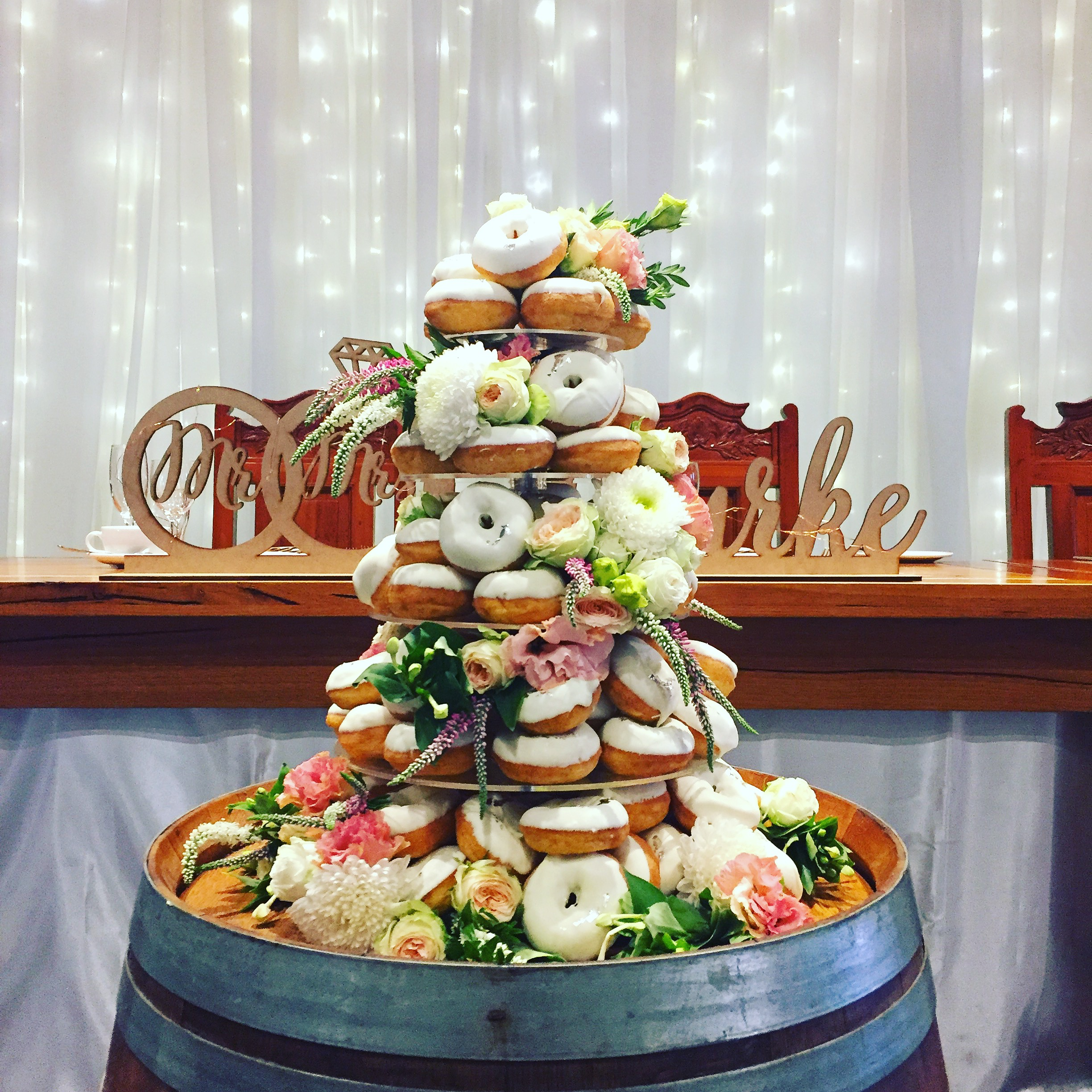 Wedding - Donut Tower w fresh blooms
