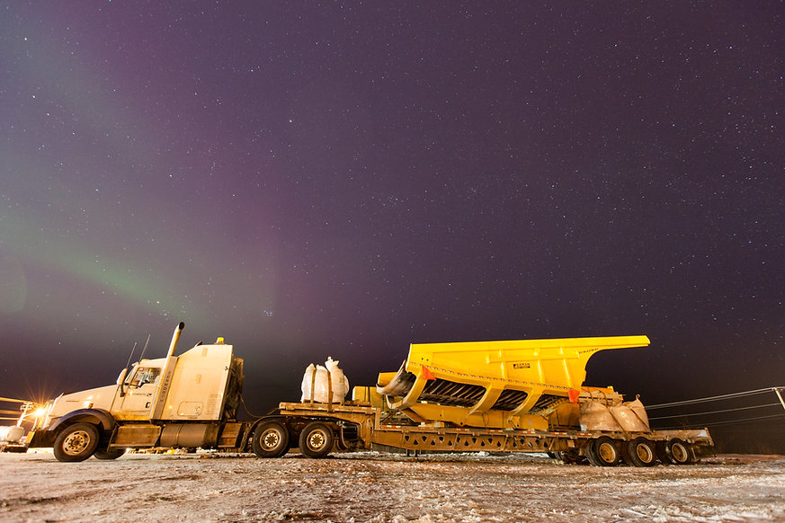 Duratray Suspended Dump Body (truck tray) on the Ice road, Canada
