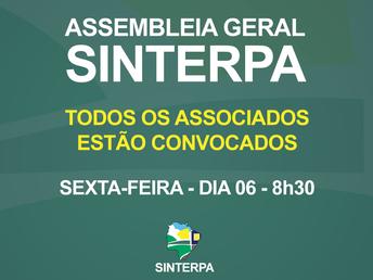 Associados são convocados para assembleia geral do Sinterpa na sexta-feira
