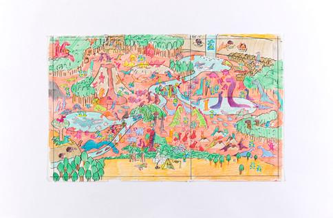 きょうりゅう谷 下描き 原画