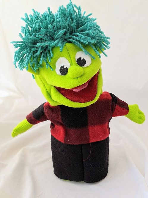 Boy puppet with blue hair