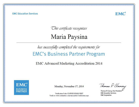 EMC Advanced Marketing Accreditation
