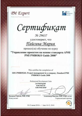 Управление проектом на основе ANSI PMI PMBOK Guide 2008
