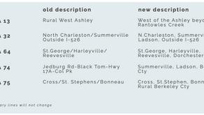 Five Area Name Adjustments