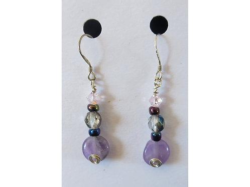 Amethyst and Glass Bead Earrings