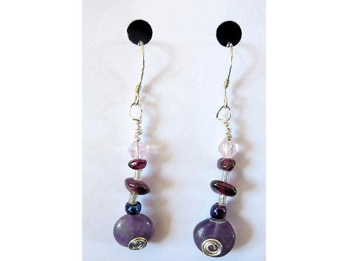 Amethyst, Garnet and Glass Bead Earrings