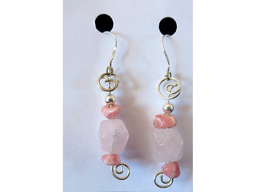 Rose Quartz and Rhodochrosite Earrings