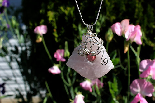 Unique Rose Quartz and Rhodochrosite Talisman