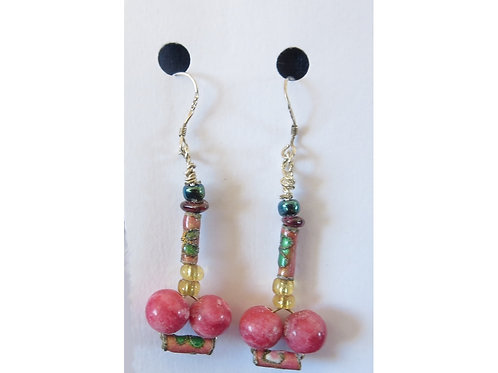 Rhodochrosite with Enamel and Glass Bead Earrings