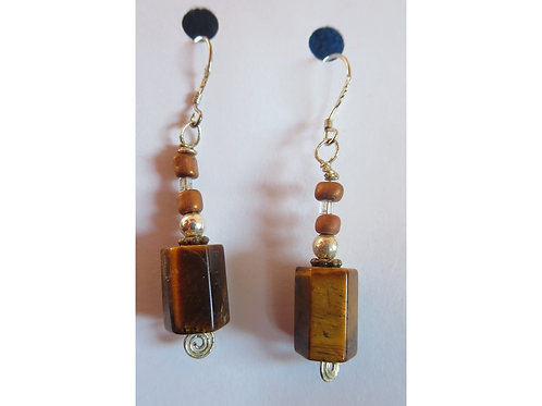 Tiger's Eye with Glass and Silver Bead Earrings