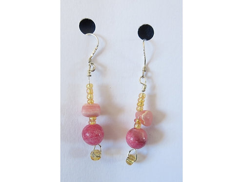 Rhodochrosite and Glass Bead Earrings