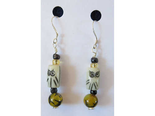 Dragon's Vein Agate and Owl Bead Earrings