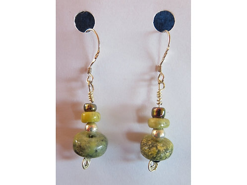 Serpentine with Glass and Silver Bead Earrings
