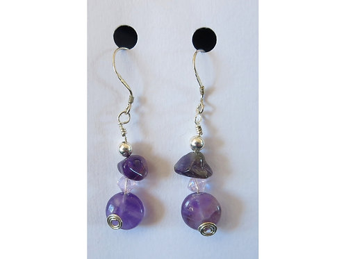 Amethyst Duo with beads Earrings