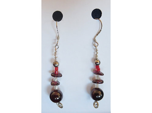 Garnet with Glass and Silver Bead Earrings