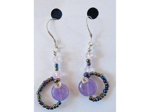 Amethyst and Glass Bead Loop Earrings