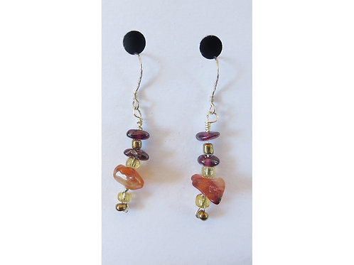 Carnelian, Garnet, and Glass Bead Earrings