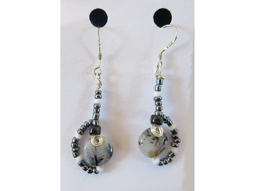 Tourmalated Quartz with Glass Bead Earrings