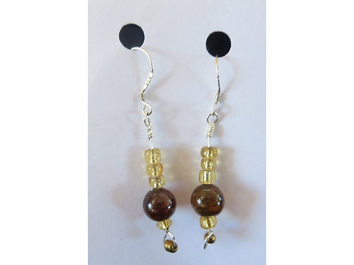 Dragon's Vein Agate with Golden Bead Earrings