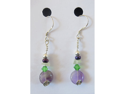 Amethyst, Prehnite and Glass Bead Earrings