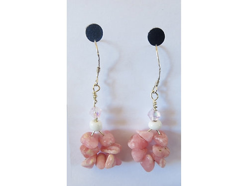 Rhodochrosite Cluster and Glass Bead Earrings