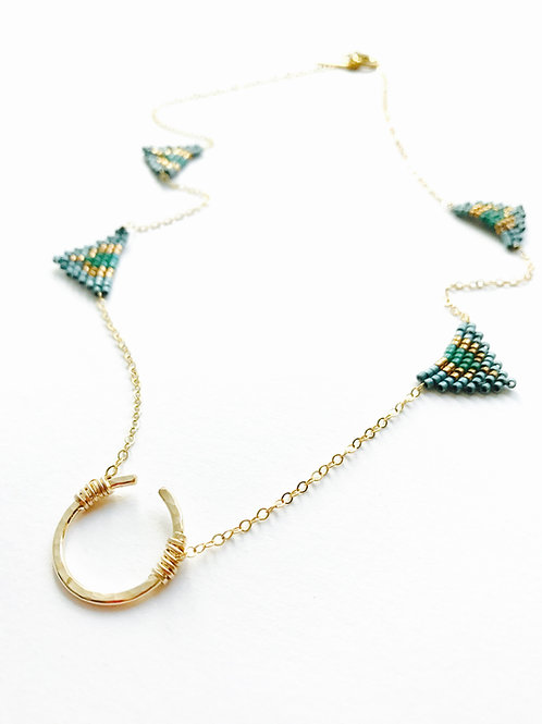 Open Circle Triangle necklace- hand beaded