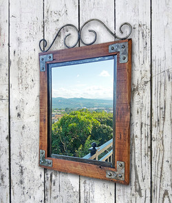 Wood/Steel Frame Mirror