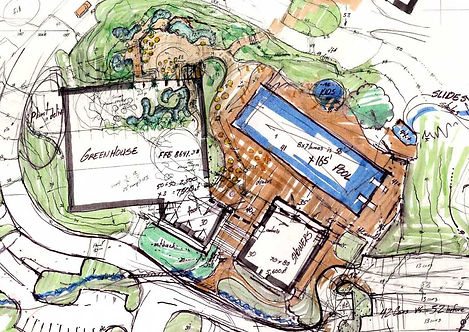 conceptual marker plan of home, pool and outdoor space