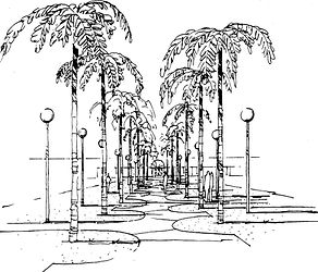 conceptual pen sketch of palm tree walkway