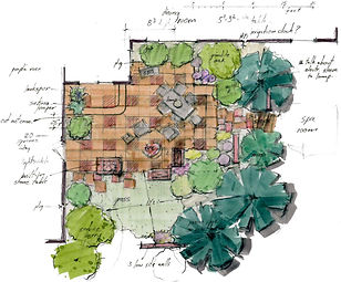 marker plan view of a patio