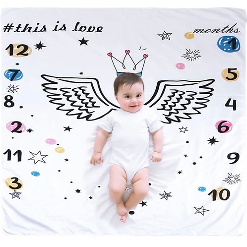 Manta para documentar el primer año de tu bebé-Angel con corona