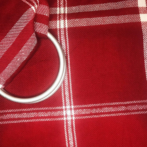 Baby Ringsling Twill Plaid Red and Silver