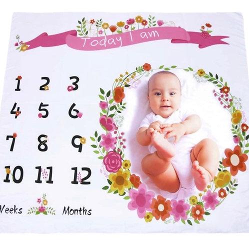 Manta para documentar el primer año de tu bebé-Floral