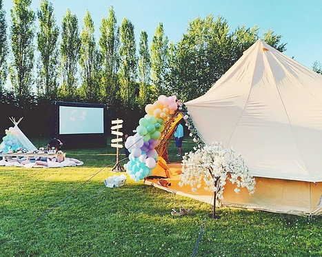 MOVIE, BELL TENT & PICNIC WITH BALLOON GARLANDS