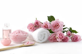 Spa sitting with rose ,salt in spoon, to