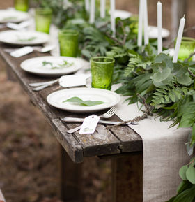 Wedding table setting with white plates