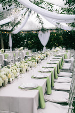 green and white wedding table decor, outside summer wedding reception, luxury designer wed