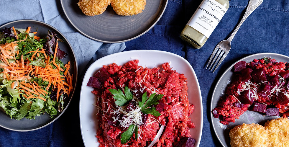 Beet Risotto with Fried Goat Cheese