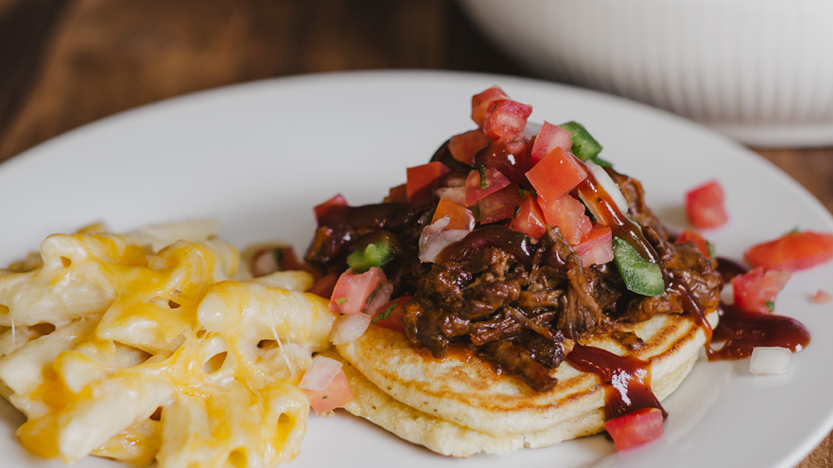 Brisket Smothered Corn Cakes