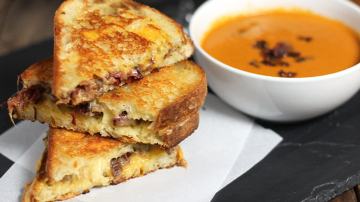 Braised Beef Shortrib Grilled Cheese with Creamy Tomato Bisque!