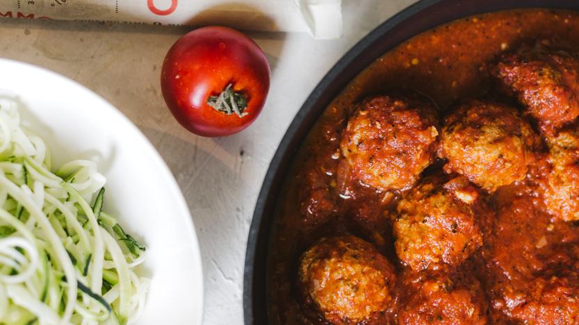 Turkey Meatballs in Tomato Sauce Zucchini Noodles