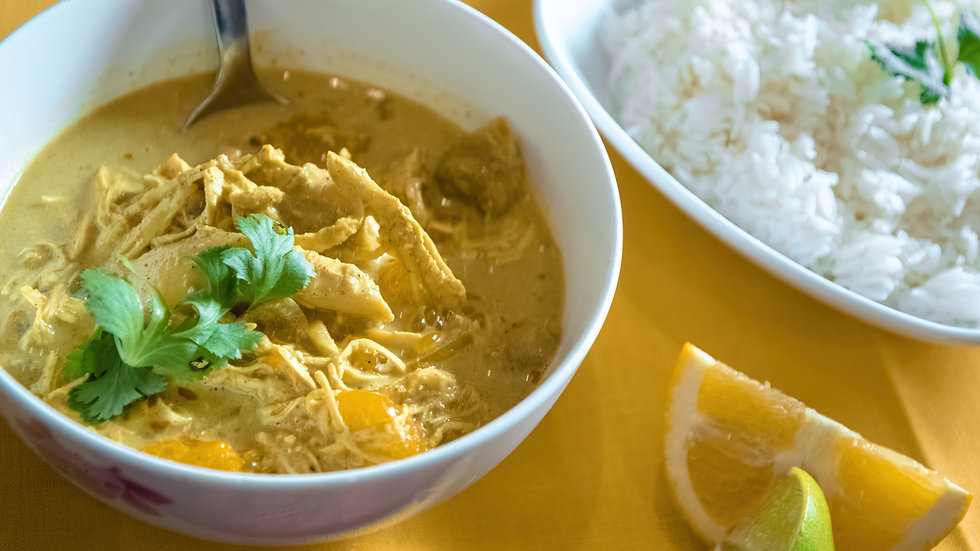 Chicken with Curry, Coconut, Mandarins and Banana!