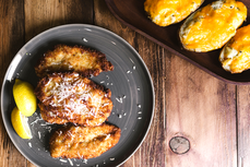 Parmesan Chicken Milanesa with Twice Baked Potatoes