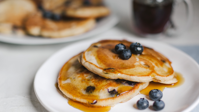 Protein Packed Banana, Blueberry Pancakes!