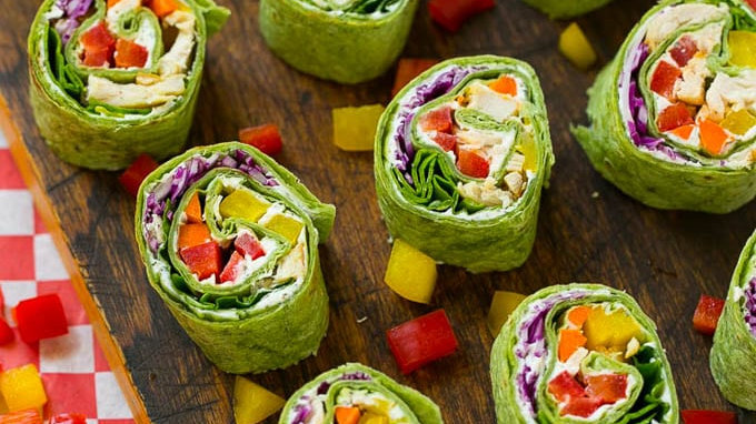 Chicken & Veggie Rainbow Pinwheels