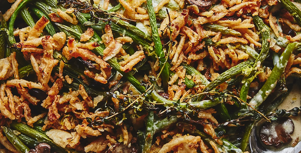 Traditional Green Bean Casserole with Crunchy Onions