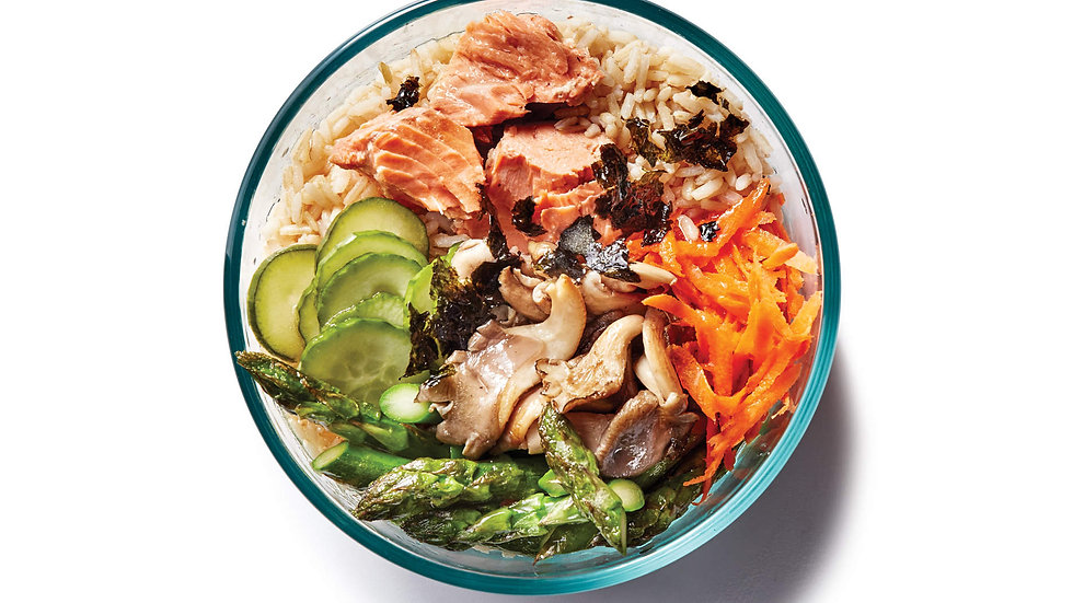 Brown Rice Salmon Bowl with Citrus Dressing