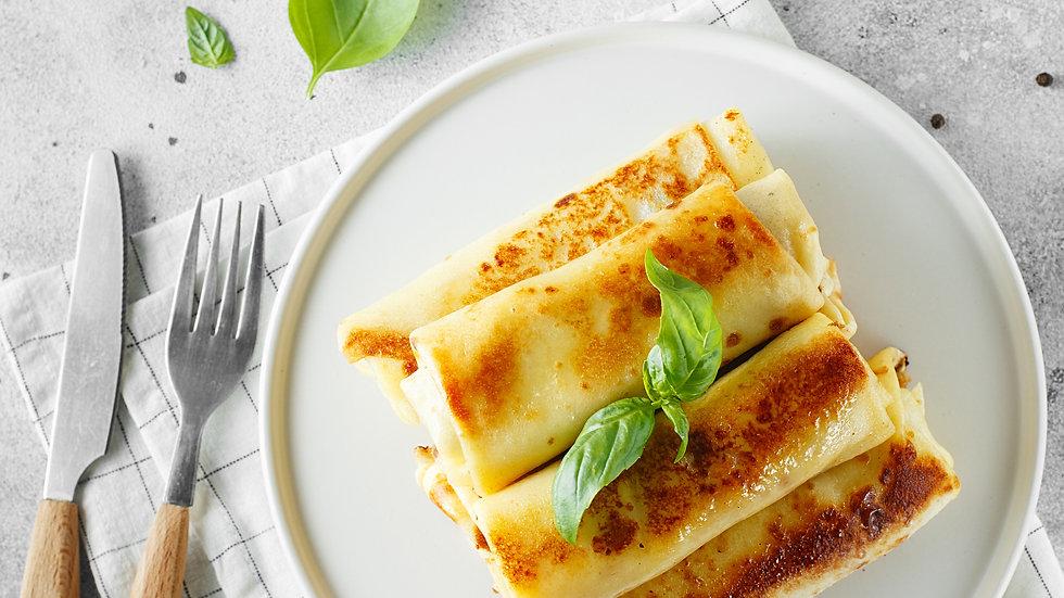 Asparagus, Goat Cheese & Mushroom Crepes