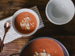 Creamy Tomato Soup with Feta & Orzo