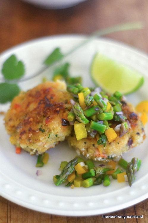 Cod Cakes with Asparagus Salsa